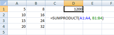 SUMPRODUCT Example1