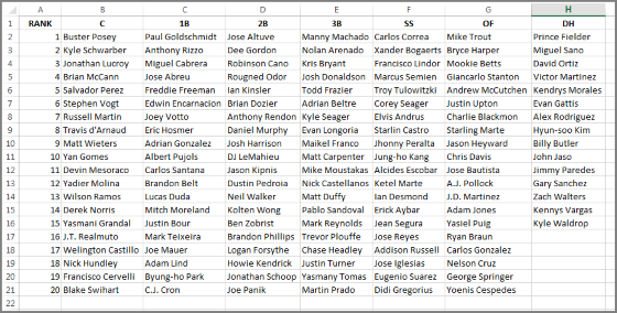 How to Create a Position Cheat Sheet in Excel | RotoGraphs Fantasy
